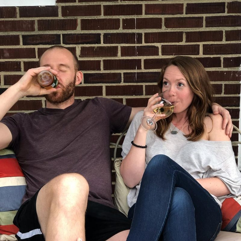 Bill and Wendy drinking a beer - wendysyogaspace